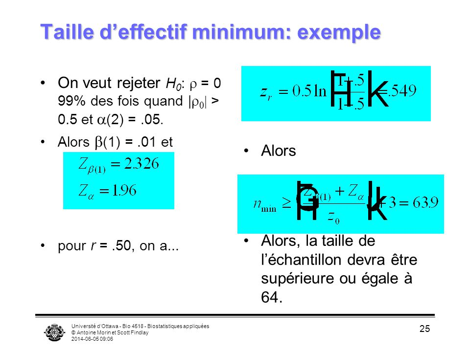 Taille d'effectif minimum: exemple