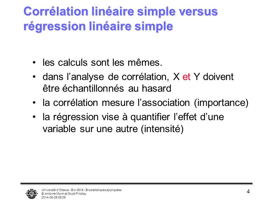 Corrélation linéaire simple versus régression linéaire simple