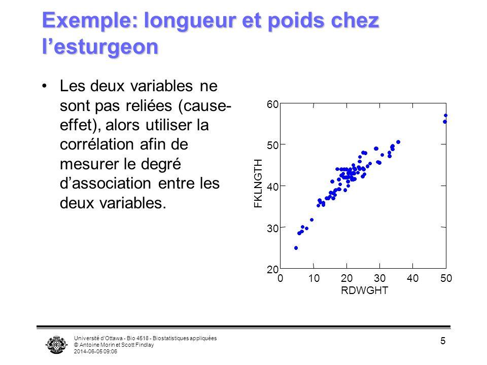 Exemple: longueur et poids chez l'esturgeon