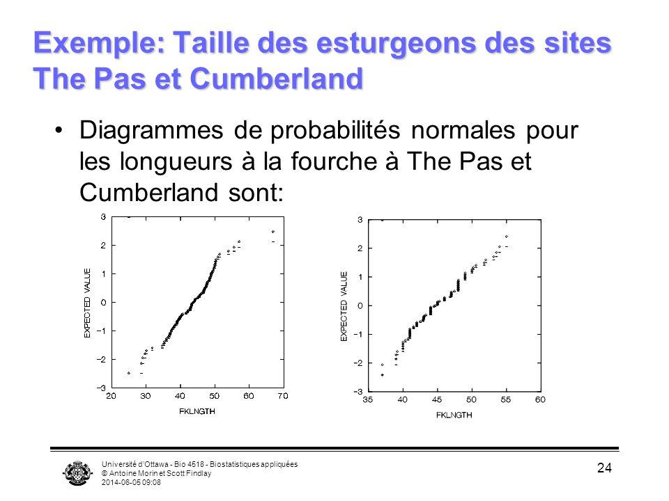 Exemple: Taille des esturgeons des sites The Pas et Cumberland