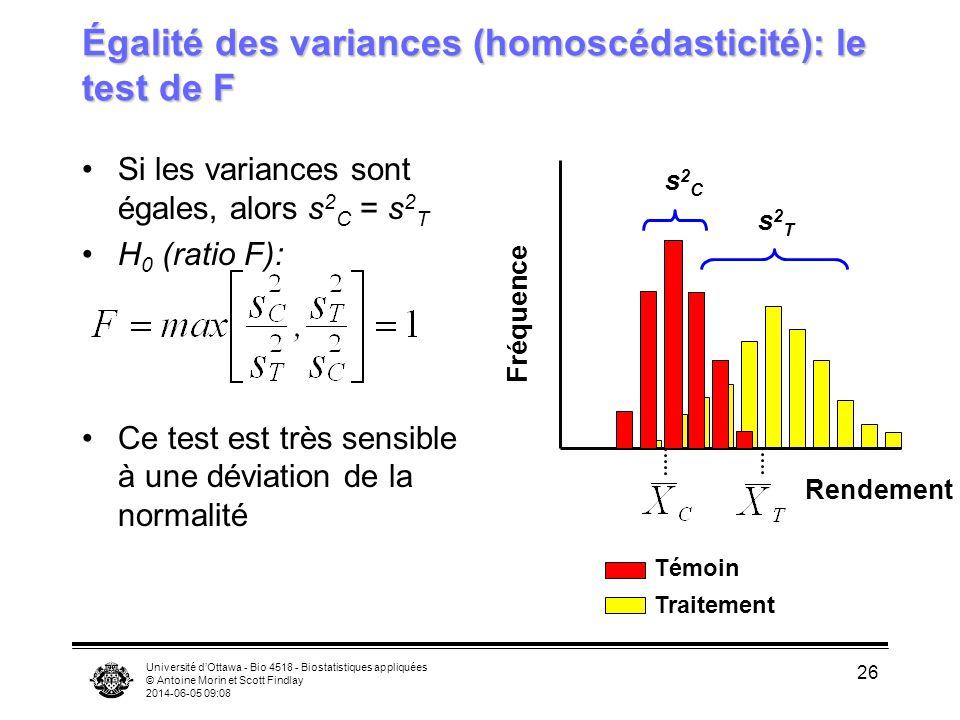 Égalité des variances (homoscédasticité): le test de F