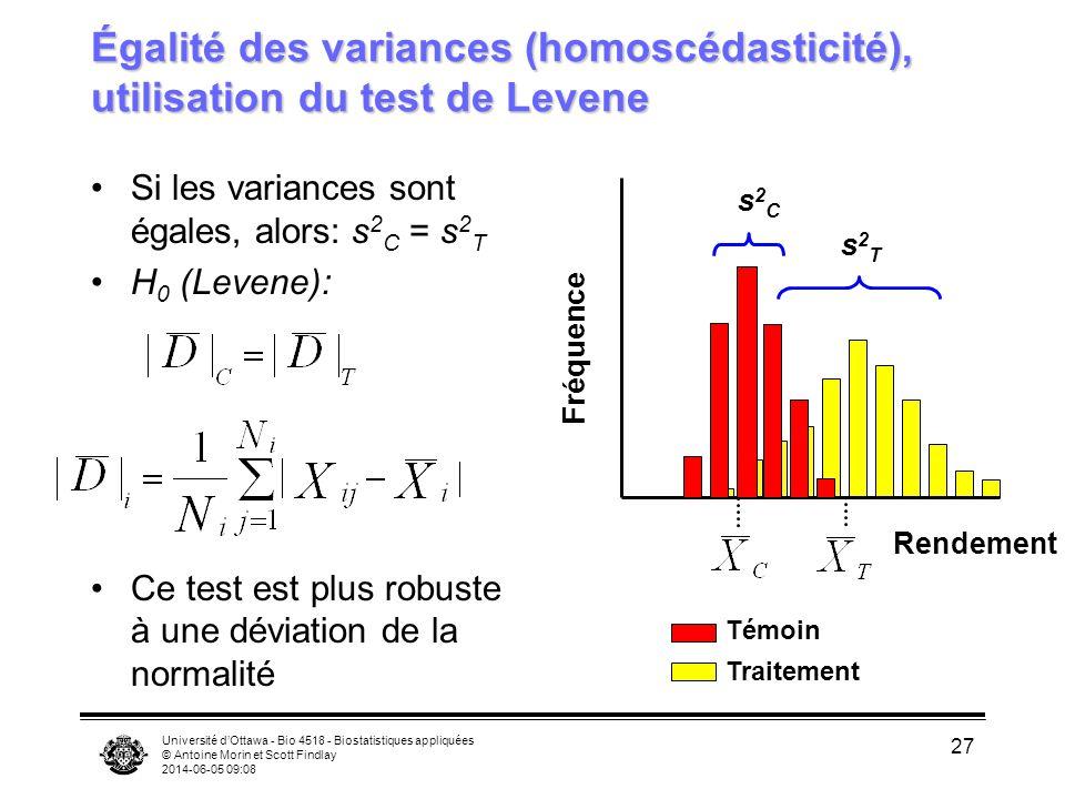 Égalité des variances (homoscédasticité), utilisation du test de Levene
