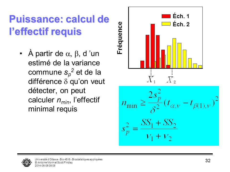 Puissance: calcul de l'effectif requis