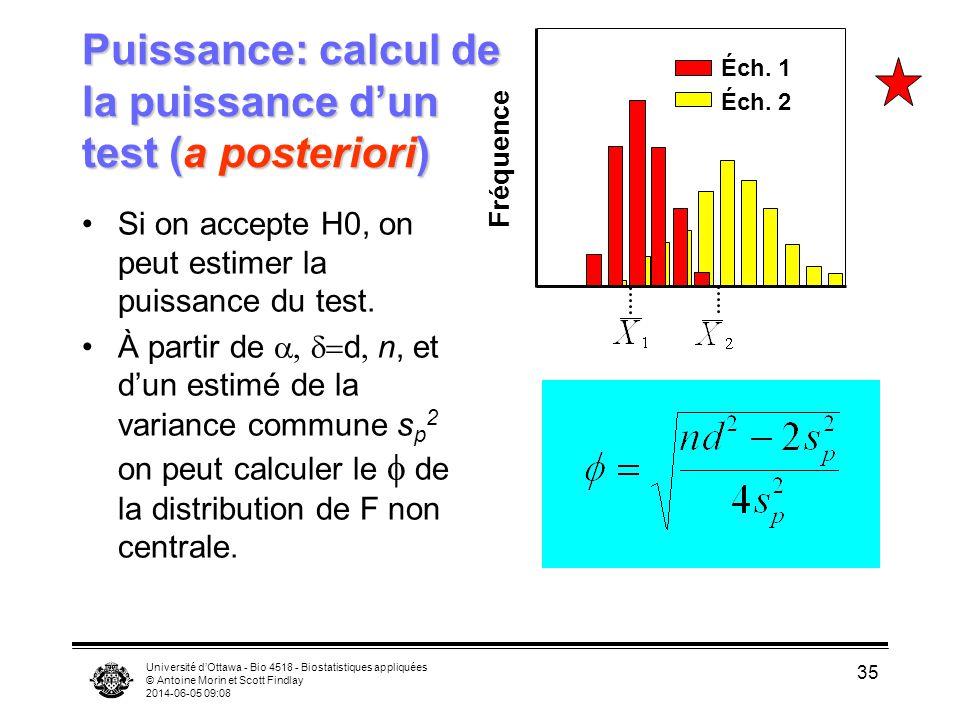 Puissance: calcul de la puissance d'un test (a posteriori)