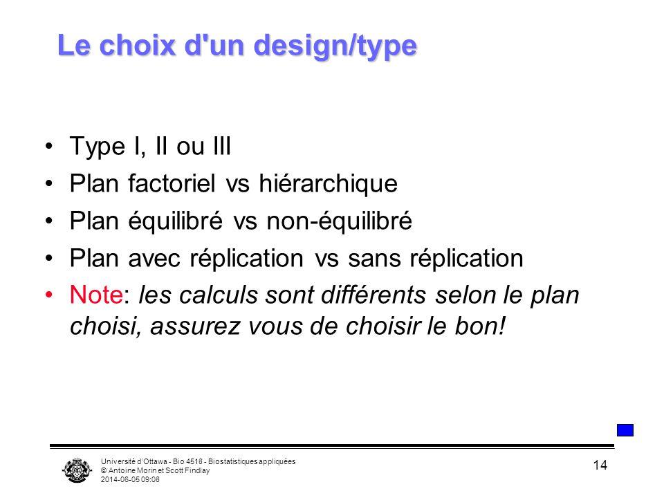Le choix d un design/type