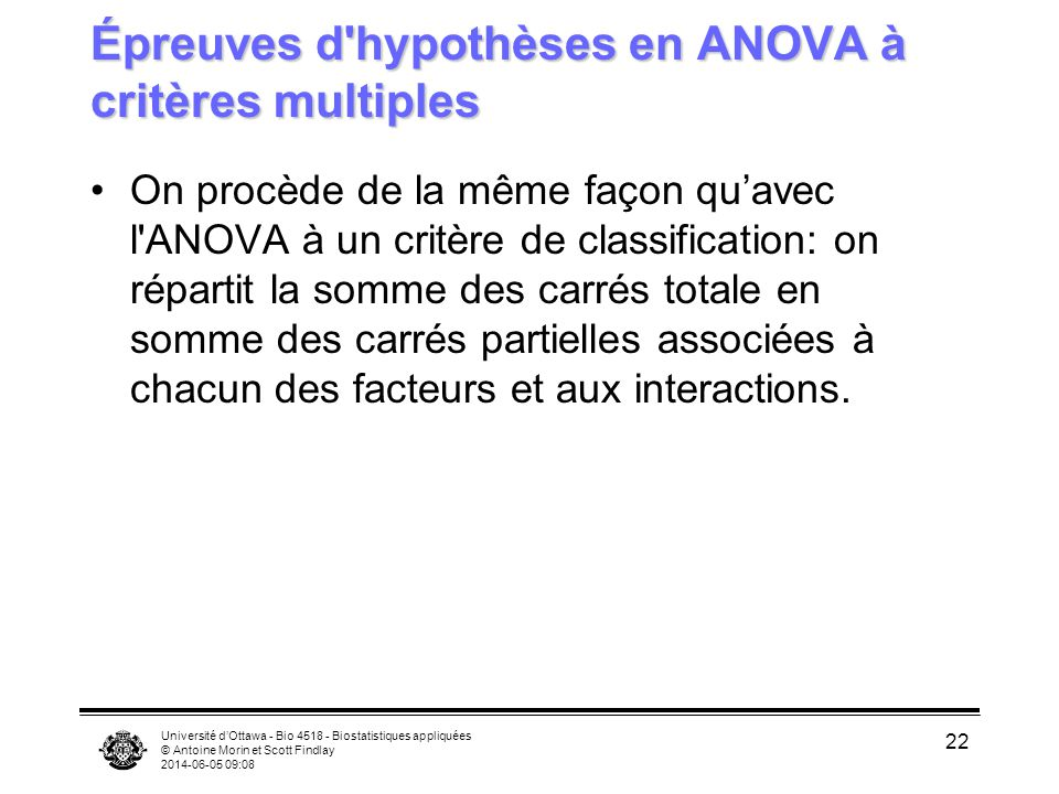 Épreuves d hypothèses en ANOVA à critères multiples