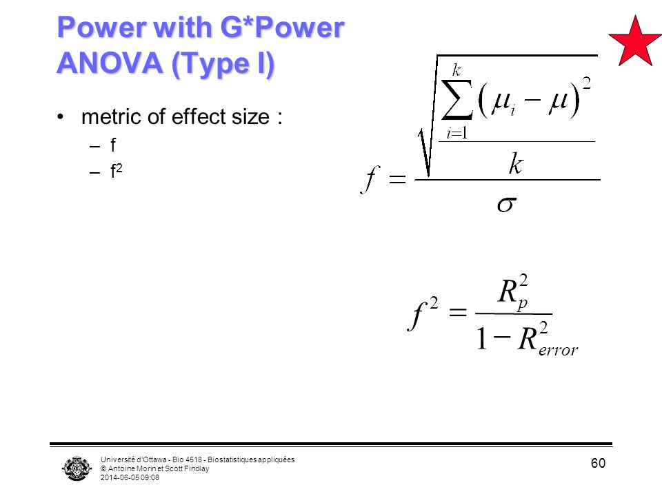 Power with G*Power ANOVA (Type I)