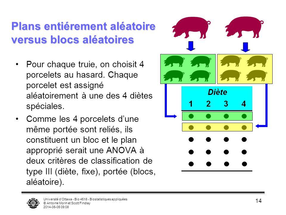Plans entiérement aléatoire versus blocs aléatoires