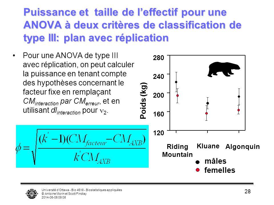 Puissance et taille de l'effectif pour une ANOVA à deux critères de classification de type III: plan avec réplication