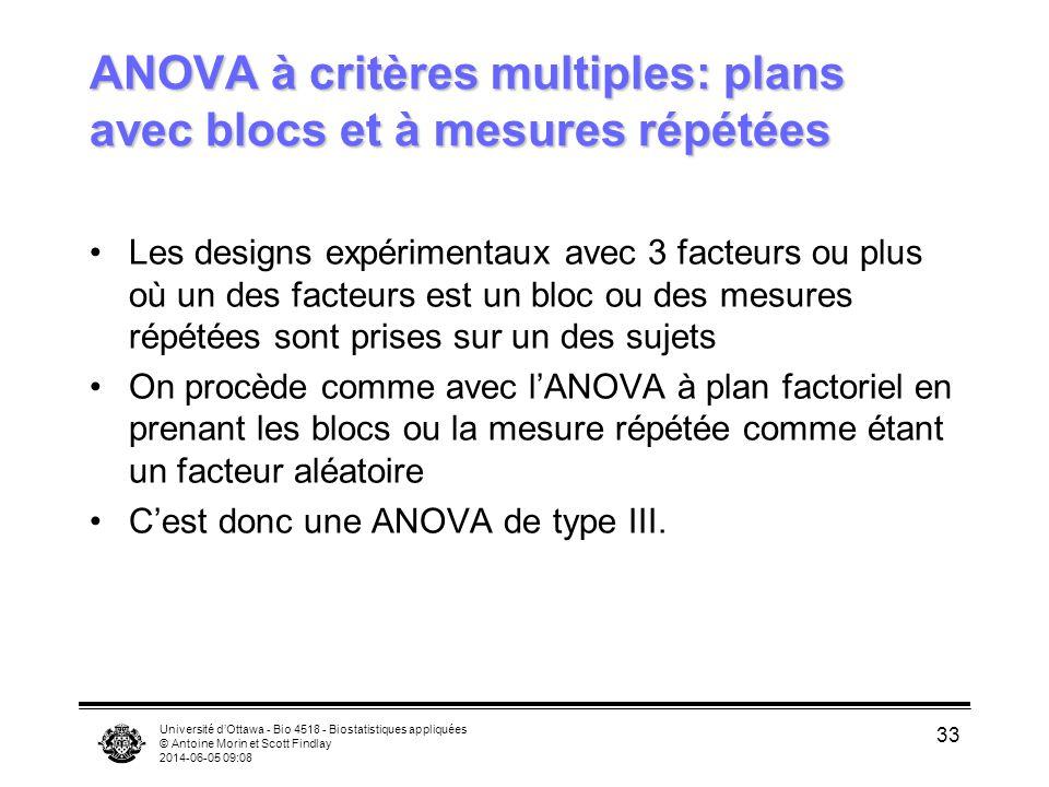ANOVA à critères multiples: plans avec blocs et à mesures répétées