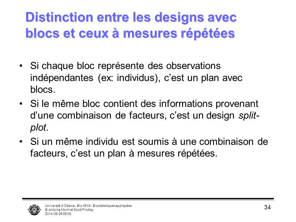 Distinction entre les designs avec blocs et ceux à mesures répétées