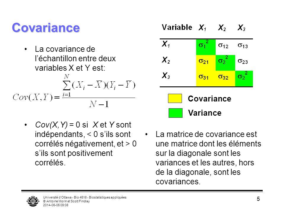 Covariance La covariance de l'échantillon entre deux variables X et Y est: