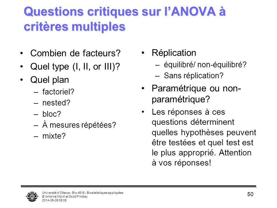 Questions critiques sur l'ANOVA à critères multiples
