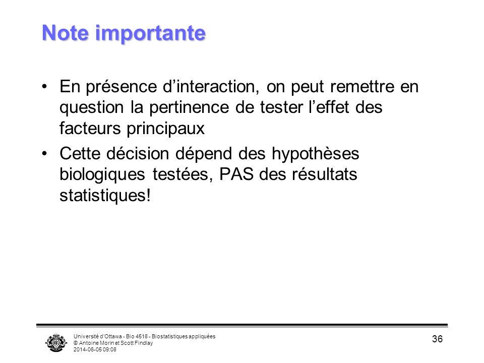 Note importante En présence d'interaction, on peut remettre en question la pertinence de tester l'effet des facteurs principaux.