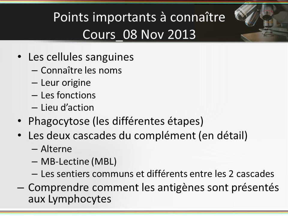 Points importants à connaître Cours_08 Nov 2013