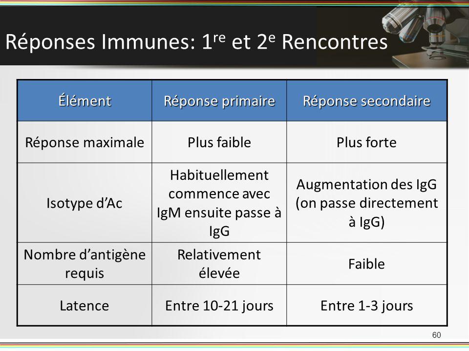 Réponses Immunes: 1re et 2e Rencontres