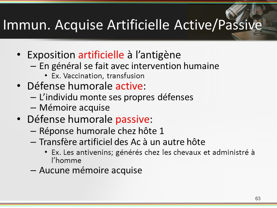 Immun. Acquise Artificielle Active/Passive