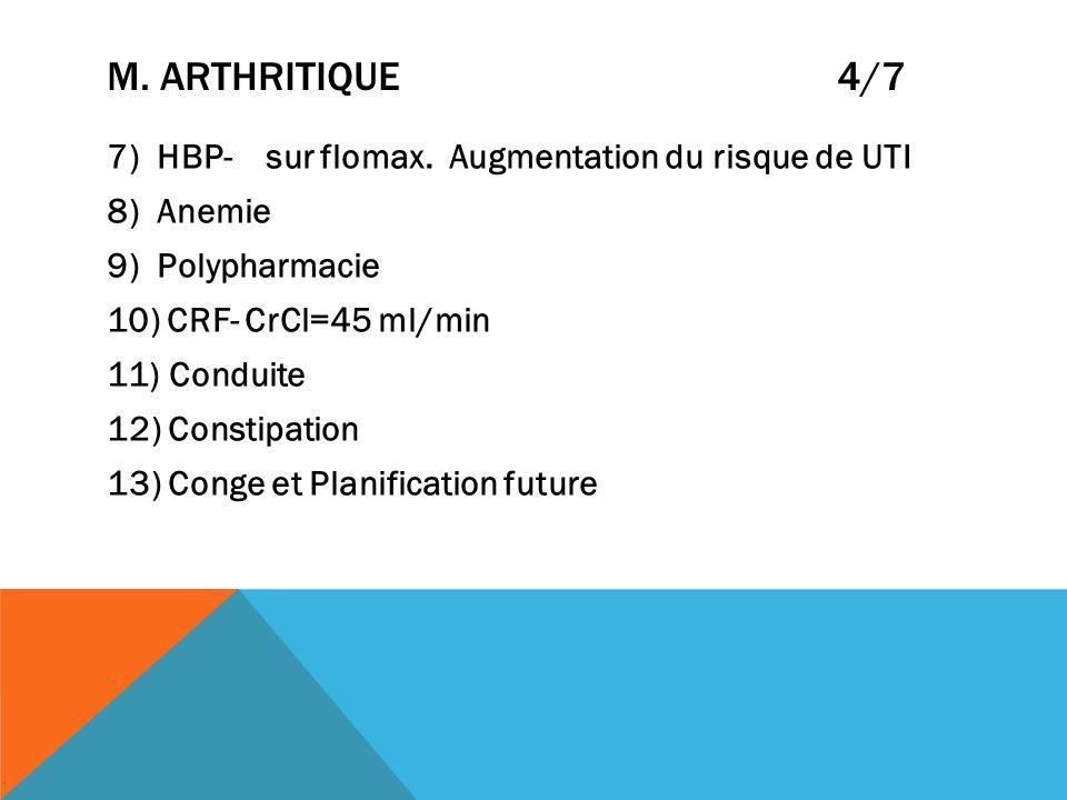 m. Arthritique 4/7 7) HBP- sur flomax. Augmentation du risque de UTI