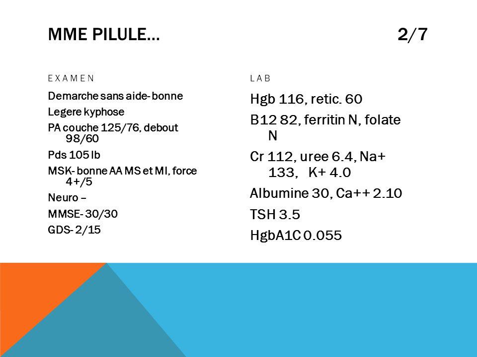 MME PILULE… 2/7 EXAMEN. LAB.
