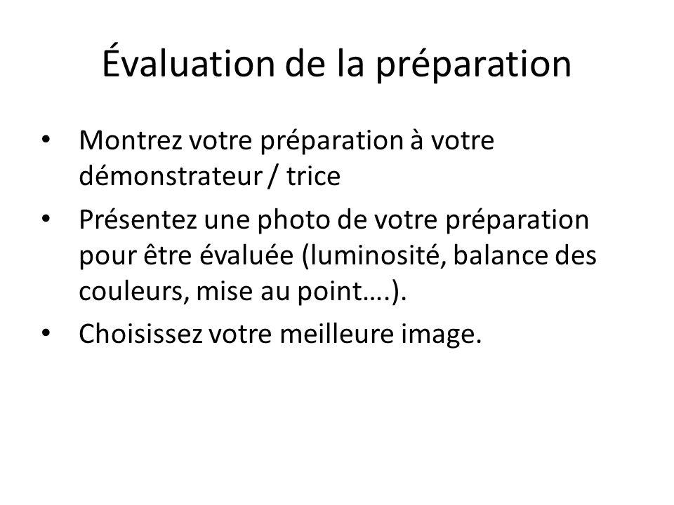 Évaluation de la préparation