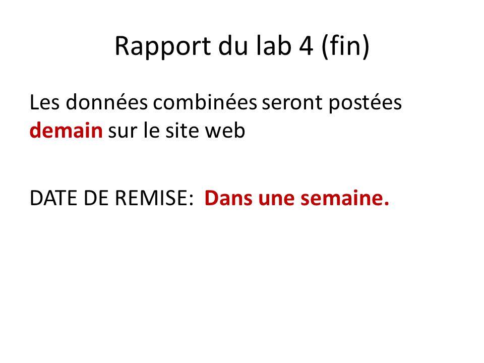Rapport du lab 4 (fin) Les données combinées seront postées demain sur le site web.