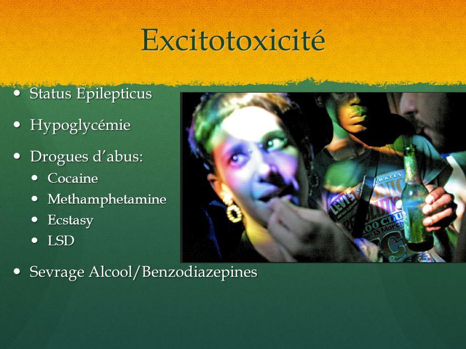 Excitotoxicité Status Epilepticus Hypoglycémie Drogues d'abus: