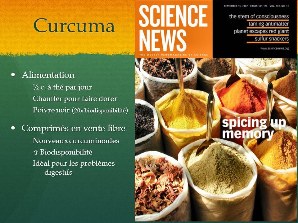 Curcuma Alimentation Comprimés en vente libre ½ c. à thé par jour