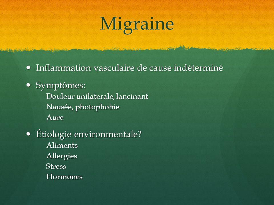 Migraine Inflammation vasculaire de cause indéterminé Symptômes:
