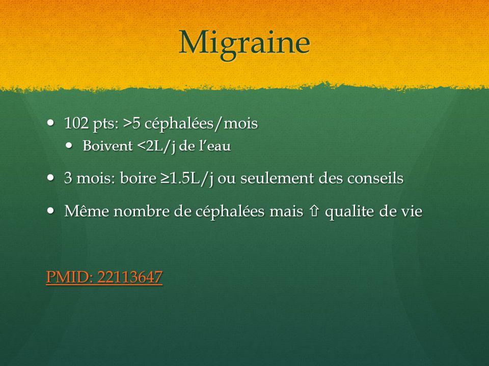 Migraine 102 pts: >5 céphalées/mois