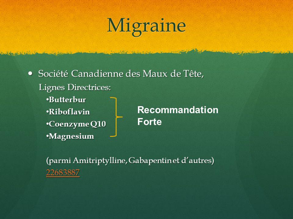 Migraine Société Canadienne des Maux de Tête, Recommandation Forte