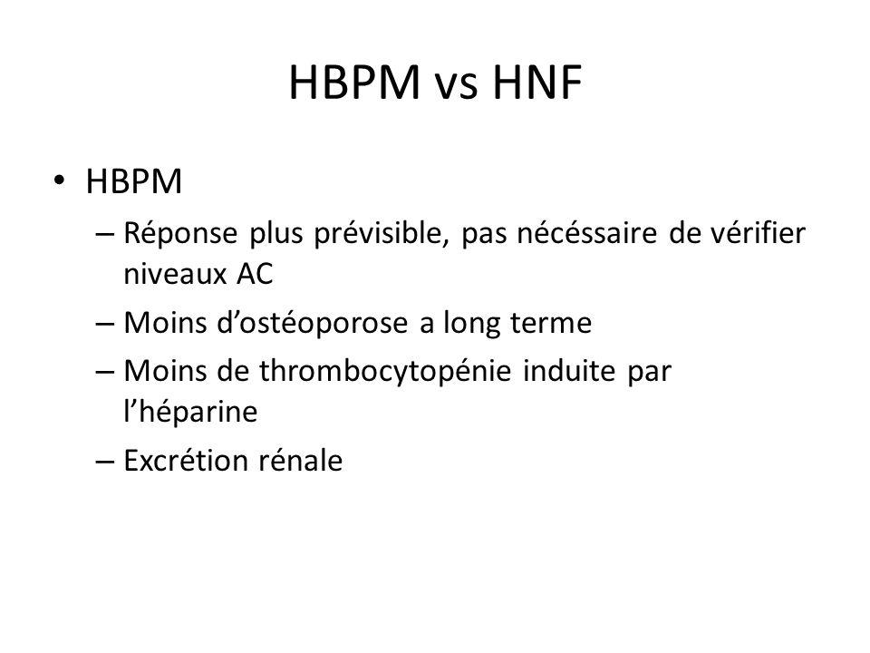 HBPM vs HNF HBPM. Réponse plus prévisible, pas nécéssaire de vérifier niveaux AC. Moins d'ostéoporose a long terme.