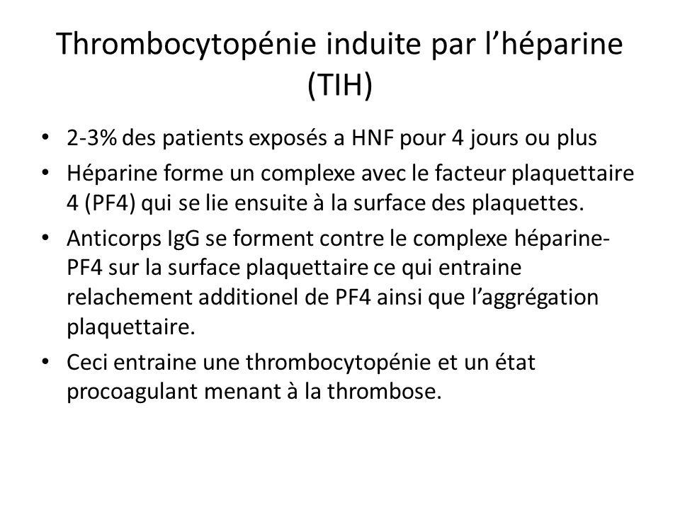 Thrombocytopénie induite par l'héparine (TIH)