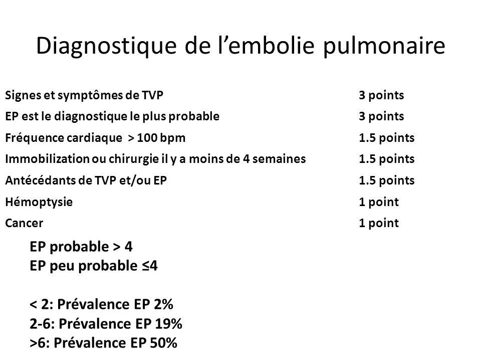 Diagnostique de l'embolie pulmonaire