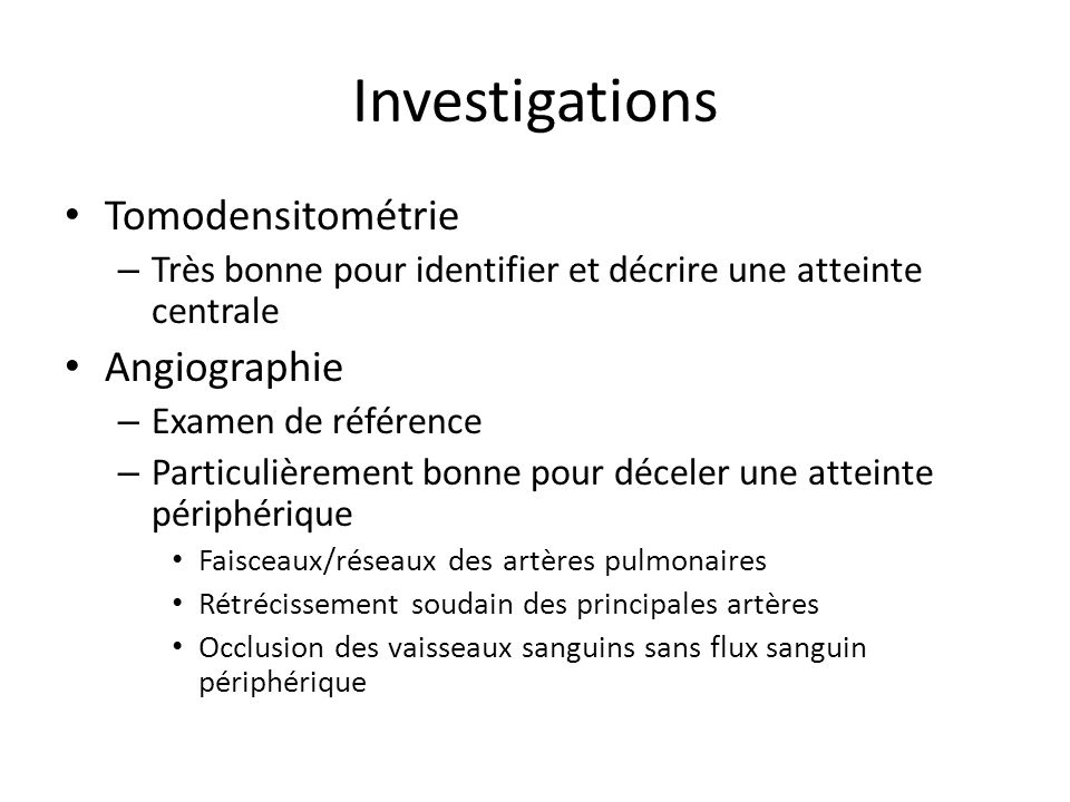 Investigations Tomodensitométrie Angiographie