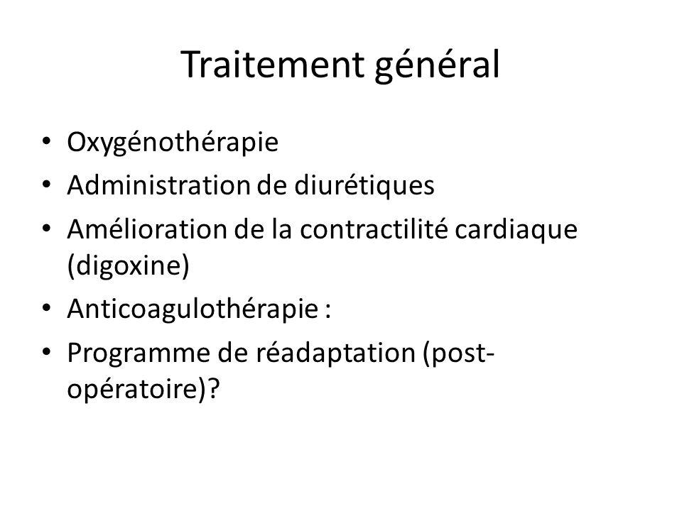 Traitement général Oxygénothérapie Administration de diurétiques