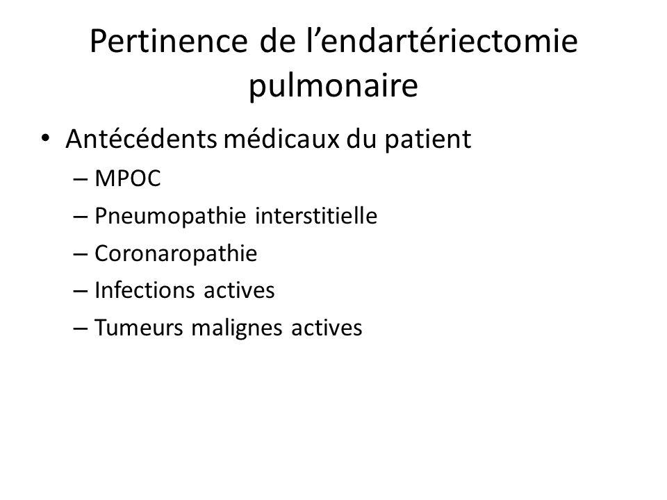Pertinence de l'endartériectomie pulmonaire