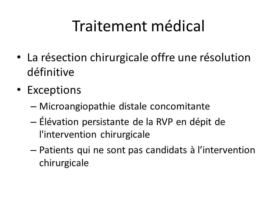Traitement médical La résection chirurgicale offre une résolution définitive. Exceptions. Microangiopathie distale concomitante.