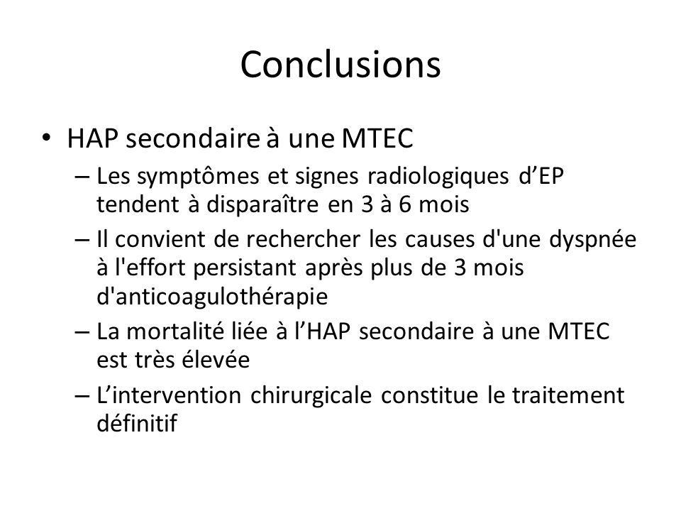 Conclusions HAP secondaire à une MTEC