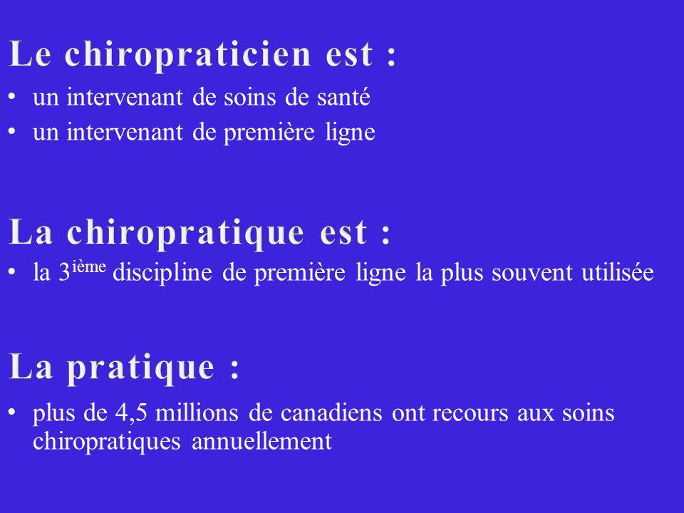 Le chiropraticien est :