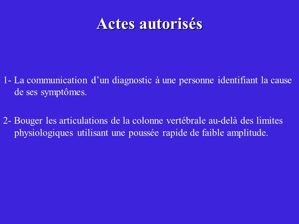 Actes autorisés 1- La communication d'un diagnostic à une personne identifiant la cause de ses symptômes.