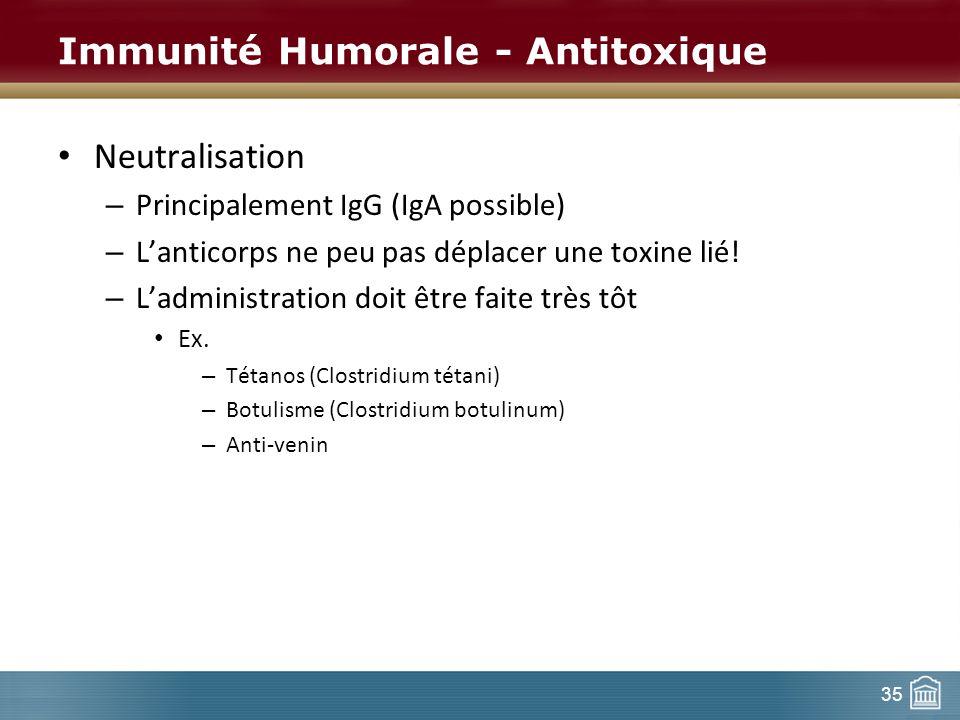 Immunité Humorale - Antitoxique