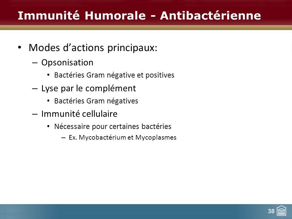 Immunité Humorale - Antibactérienne