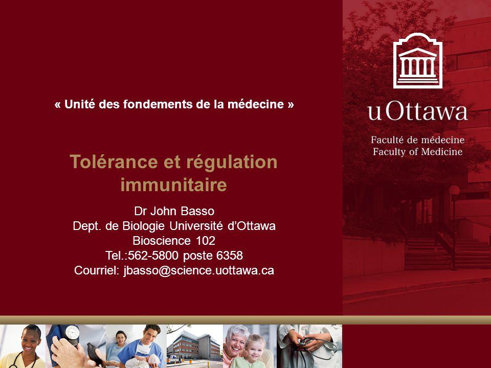 Tolérance et régulation immunitaire