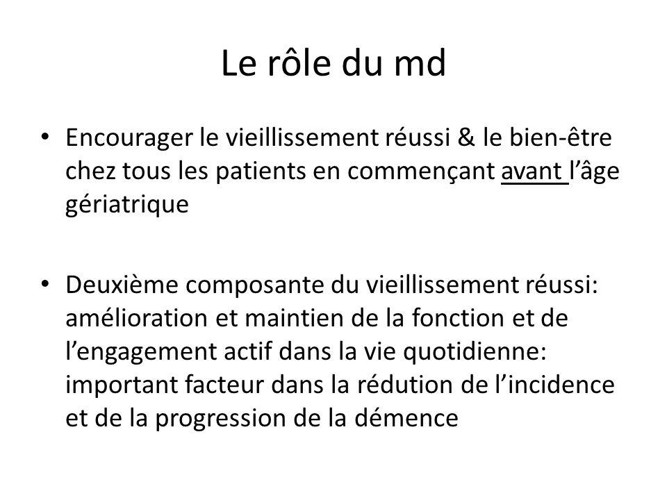 Le rôle du md Encourager le vieillissement réussi & le bien-être chez tous les patients en commençant avant l'âge gériatrique.