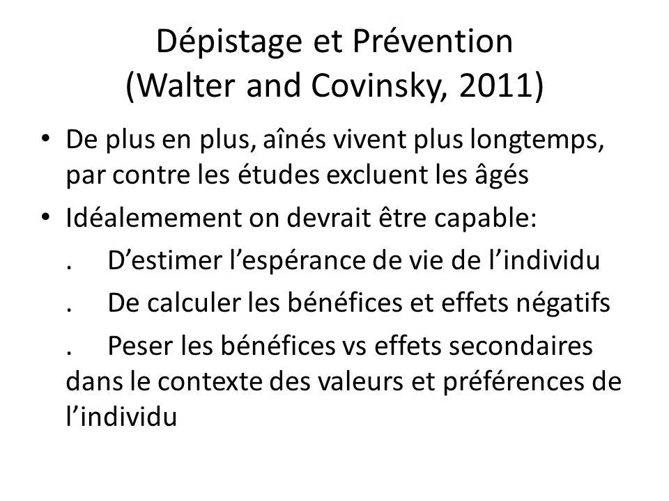 Dépistage et Prévention (Walter and Covinsky, 2011)