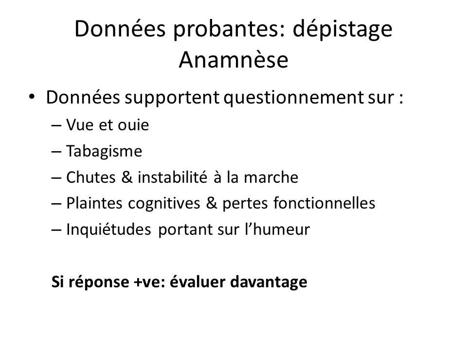 Données probantes: dépistage Anamnèse