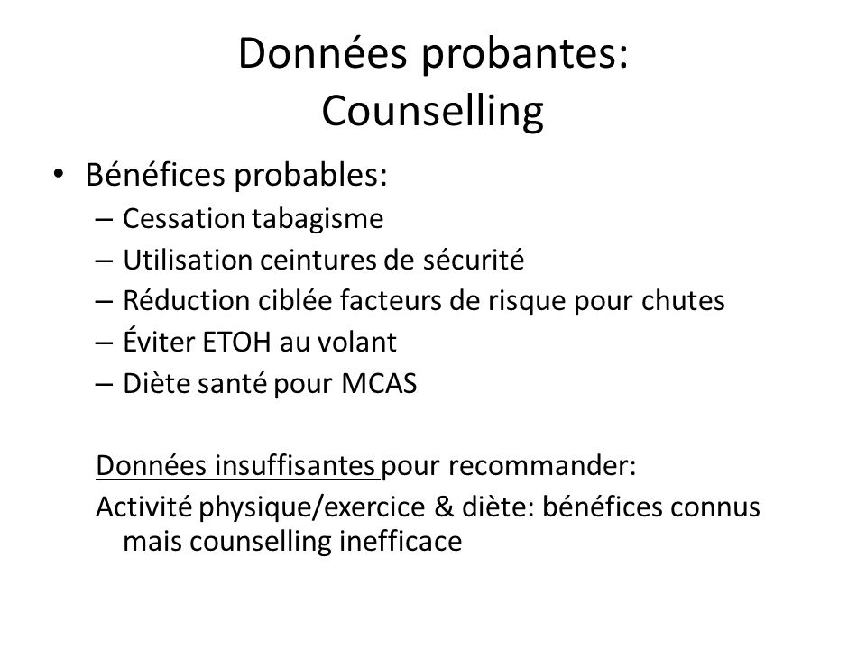 Données probantes: Counselling