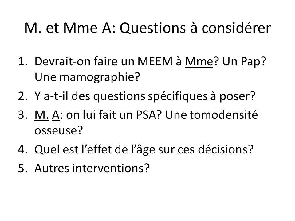 M. et Mme A: Questions à considérer