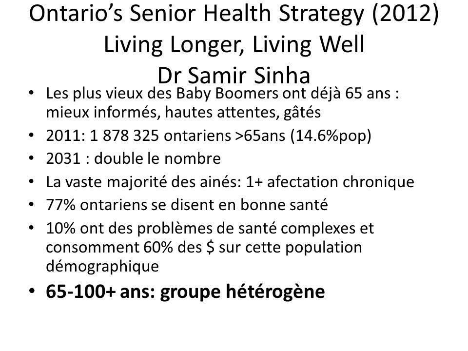 Ontario's Senior Health Strategy (2012) Living Longer, Living Well Dr Samir Sinha