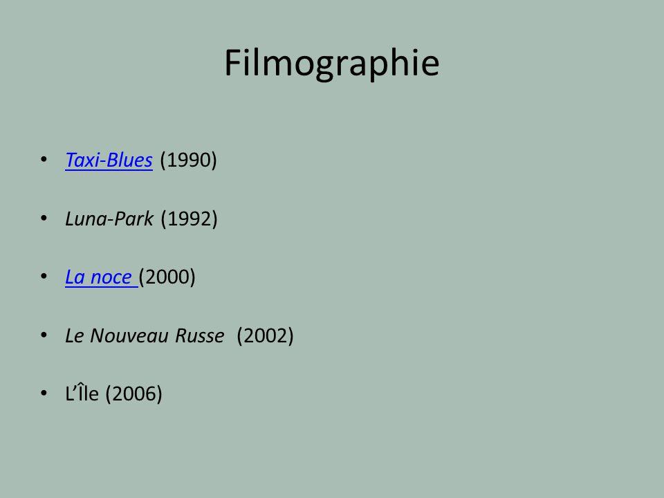 Filmographie Taxi-Blues (1990) Luna-Park (1992) La noce (2000)